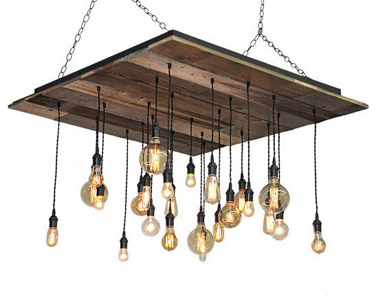 Reclaimed Wood Chandelier Rustic Lighting Brass Socket Suspended Rustic