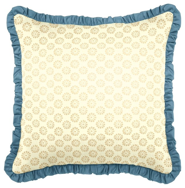 Blue & Gold Throw Pillow - Eclectic - Decorative Pillows - new york - by Loom Decor