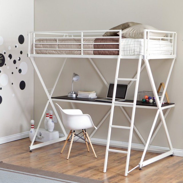 Duro z bunk bed loft with desk white wb9102wte for Modern bunk bed with desk