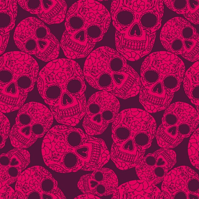 Sugar Skull Plum Wallpaper Tiles Contemporary