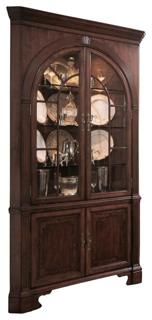 American Drew Cherry Grove Corner China Cabinet In Antique