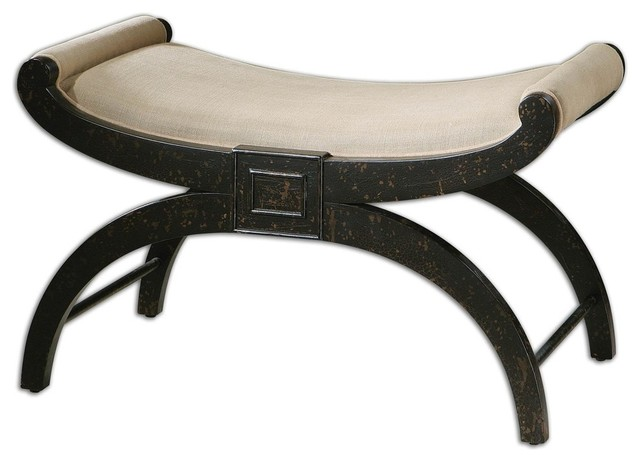 Uttermost 23109 corona bench weathered black classico for Panche imbottite