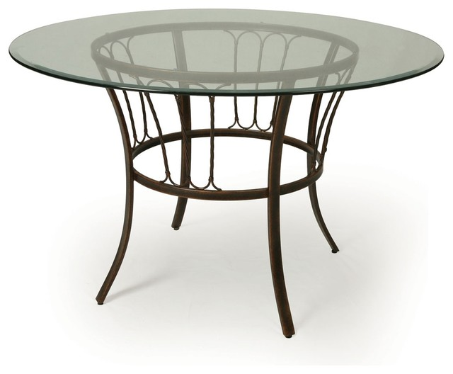 Pastel Victoria 48 Inch Round Glass Dining Table In Legacy