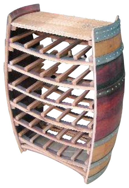Whole Barrel Wine Rack with Counter Top, Holds up to 36 Bottles - Rustic - Wine Racks - by ...