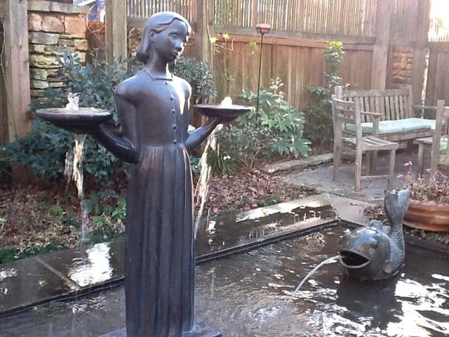 Savannah Bird Girl Statue Garden Fountain