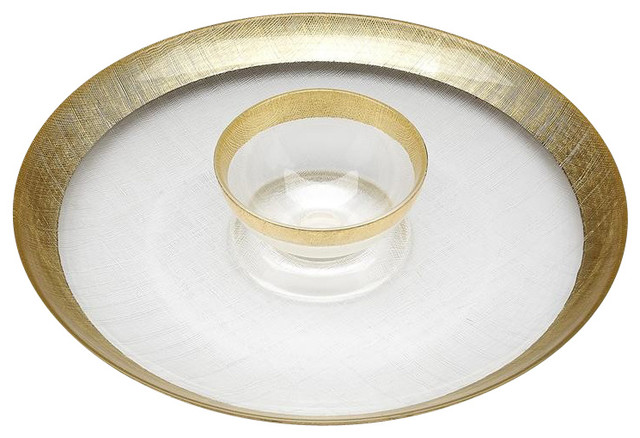 Linen Chip and Dip Platter, Gold - Contemporary - Chip And Dip Sets - by Belle and June