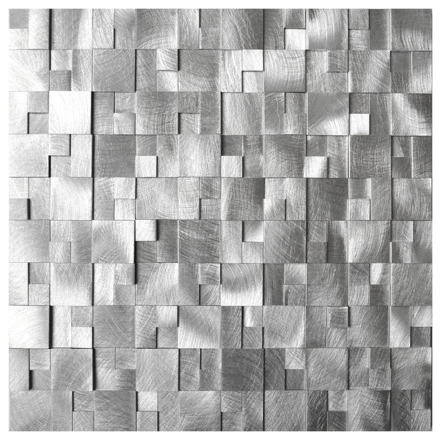 3d Raised Cobblestone Pattern Aluminum Mosaic Tile