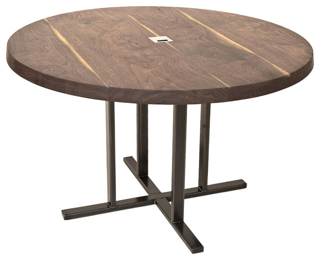 Round Black Walnut Meeting Table By Cherrywood Studio Contemporary Dining