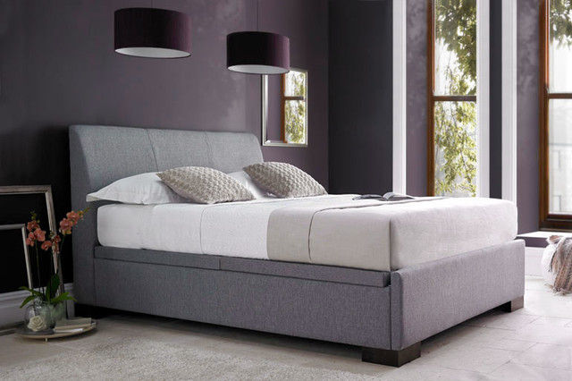 5ft king size forbes ottoman in grey contemporary for Grey divan king size bed