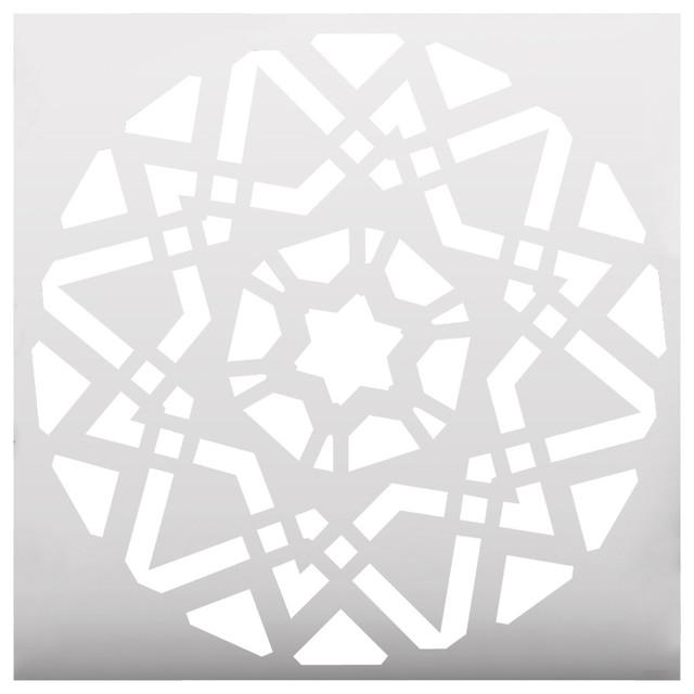 Geometric Flower Stencils : Geometric mandala stencil contemporary wall stencils