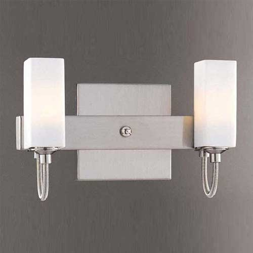 Brushed Nickel Two Light Bath Fixture Contemporary