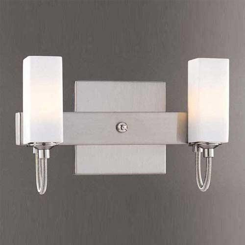 Contemporary Brushed Nickel Vanity Lights : Brushed Nickel Two-Light Bath Fixture contemporary-bathroom-vanity-lighting