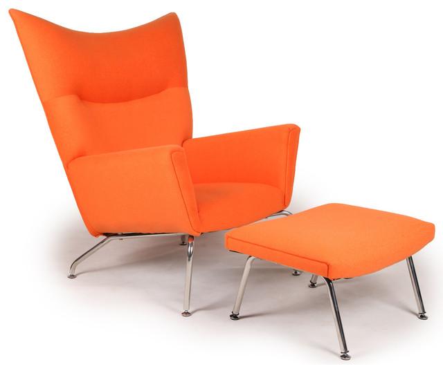 Kardiel Modern Wing Chair And Ottoman Orange Cashmere