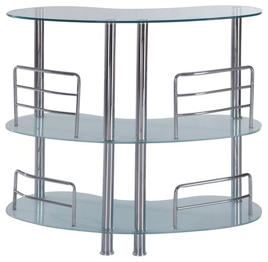 Global furniture half moon frosted glass bar table with chrome legs mbt02 fr modern Frosted glass furniture