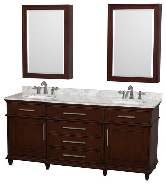Berkeley 72 Double Vanity Carrera Marble Top Round Sink 24 Med