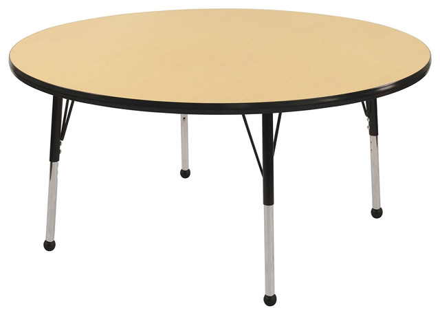 """36"""" Round Adjustable Activity Table Maple/Black With Chunky Legs ..."""
