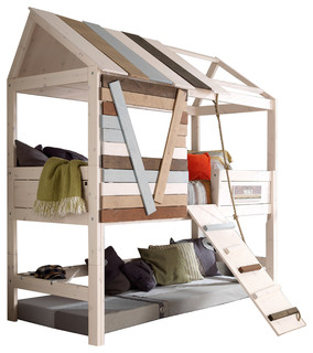 treehouse twin loft bed with rope ladder with mattresses beach style loft beds by. Black Bedroom Furniture Sets. Home Design Ideas