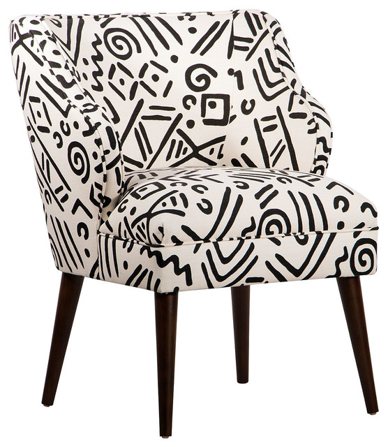Kira Accent Chair White Black Contemporary Armchairs