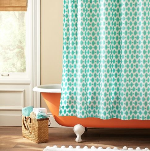 Ikat Dot Organic Shower Curtain Eclectic Shower Curtains By Pbteen