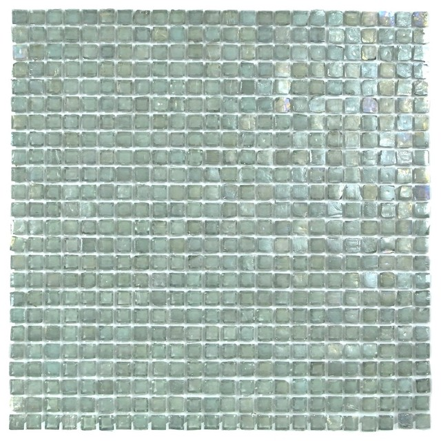 Blue green recycled glass mosaic tile 3 8 x3 8 kitchen - Recycled glass tiles bathroom ...
