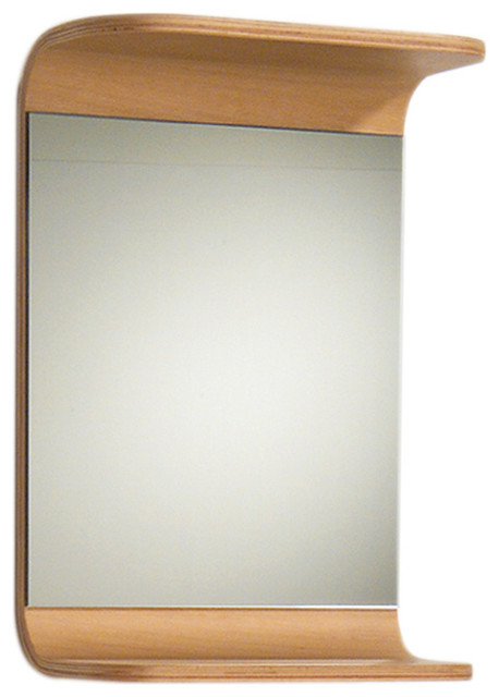 Aeri Small Rectangular Wall Mount Mirror With Integral Wood Shelf Modern