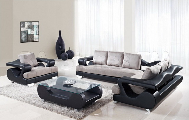Grey and Black 2 PC Sectional Sofa Set with Chair ...