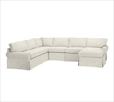 PB Basic Left 4 Piece Chaise Sectional Slipcover Brushed