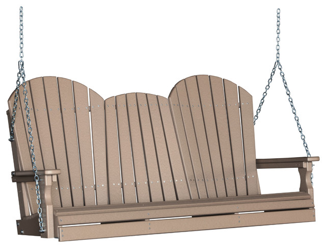 Outdoor poly 5 foot porch swing adirondack farmhouse for Farmhouse porch swing