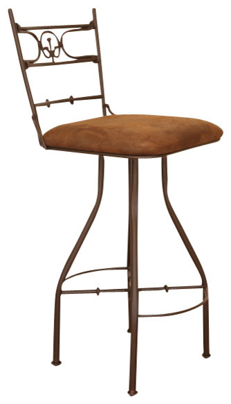 Artisan home swivel hand forged barstool armless with microfiber seat traditional bar stools Artisan home furniture bar stools