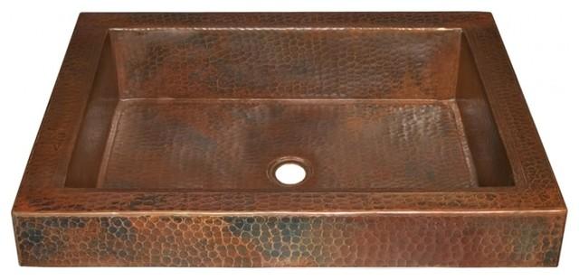 Copper Raised Profile Bathroom Sink Rustic Bathroom Sinks By Unique Vanities