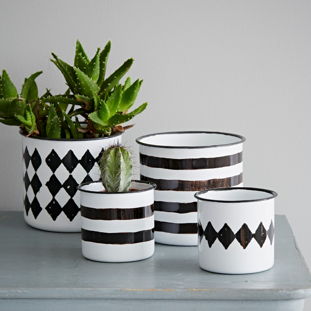 black white enamel pot contemporary indoor pots and planters by rigby mac