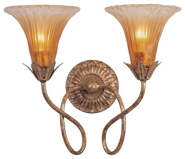 Crystorama European Classic Mouth Blown Glass Gold Leaf Sconce - Traditional - Wall Sconces - by ...