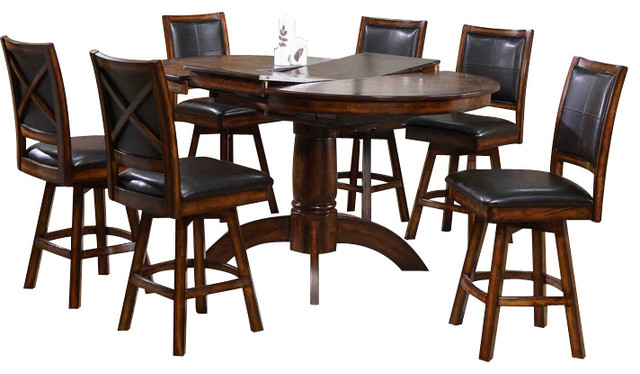 Canterbury Kendall 7 Piece Swivel Counter Height Set In