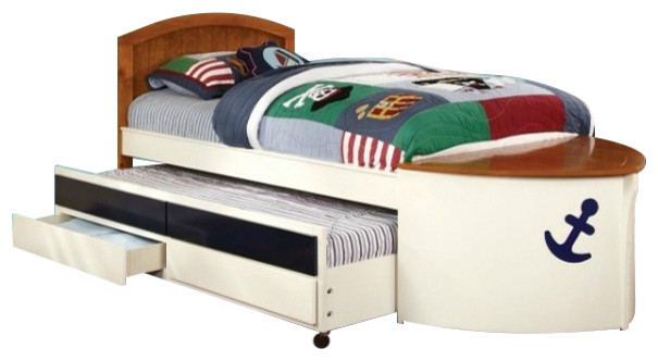 design twin size bed and roll out trundle storage front deck kids beds