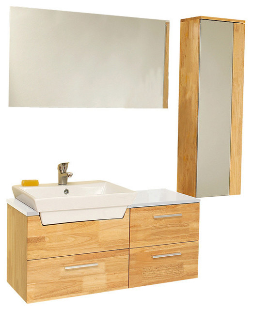 Caro natural wood vanity mirrored side cabinet fortore for Bathroom cabinets natural wood