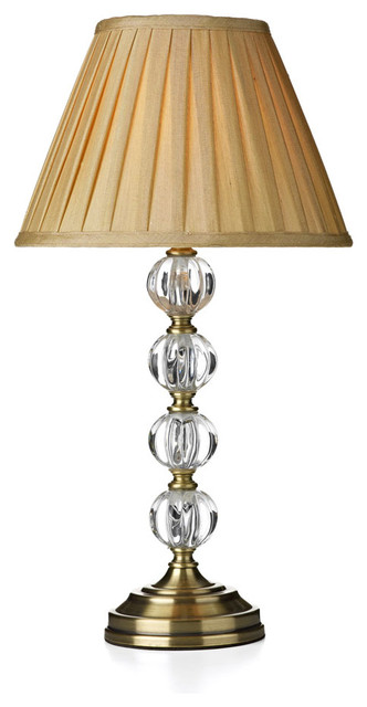 antique brass touch table lamp with cream shade tyso. Black Bedroom Furniture Sets. Home Design Ideas