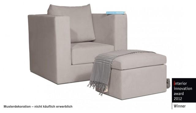 schlafsessel q8 hellbeige mit ottomane modern futons. Black Bedroom Furniture Sets. Home Design Ideas