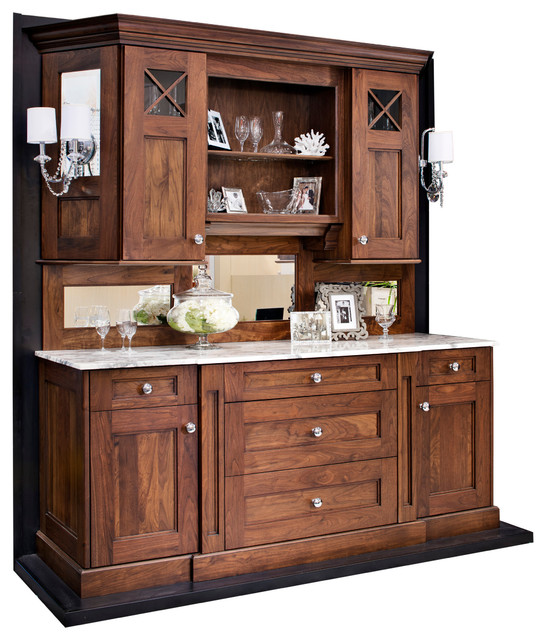 Walnut Hutch/ Buffet Or Bar