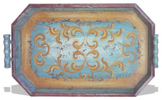Old World Tuscan Accessory Tray Hexagon - Traditional - Serving Trays ...