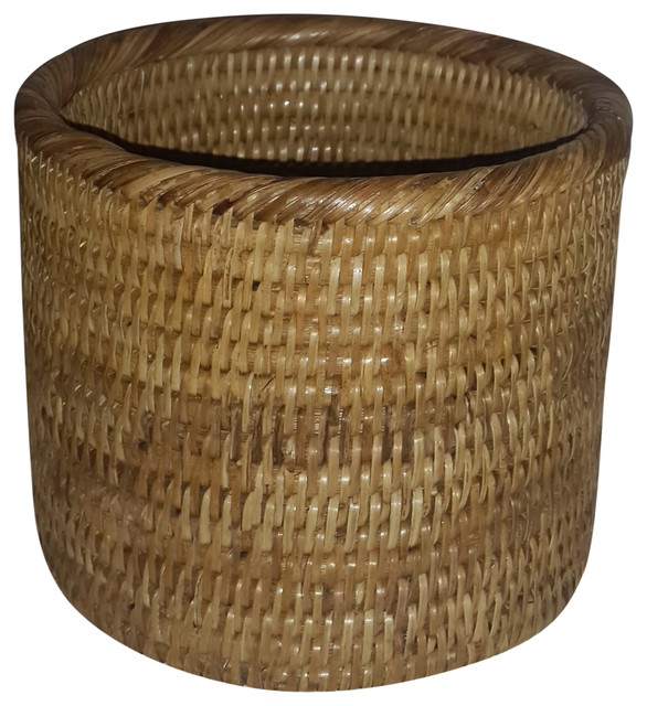 How To Hand Weave A Basket : Hand woven rattan cylinder basket large beach style