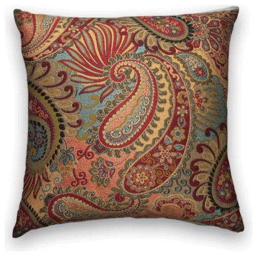 red blue gold paisley floral throw  18x18 pillow cover