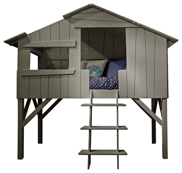 Grey treehouse loft bed tree house twin bed beach style for Treehouse toddler bed