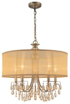 crystorama lighting group 5625 hampton 5 light brass drum. Black Bedroom Furniture Sets. Home Design Ideas