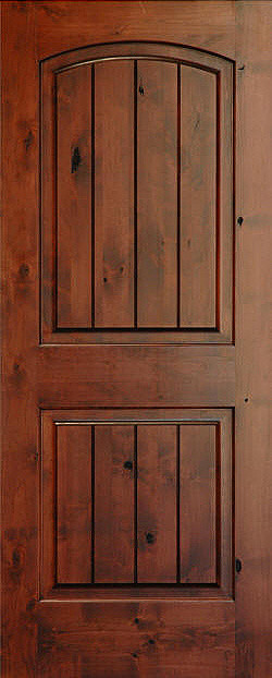 Rustic arch 2 panel v grooved knotty alder wood door for Mediterranean interior doors