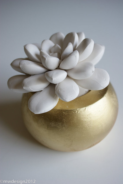 White Modern Succulent Sculpture By Waterstone Succulents