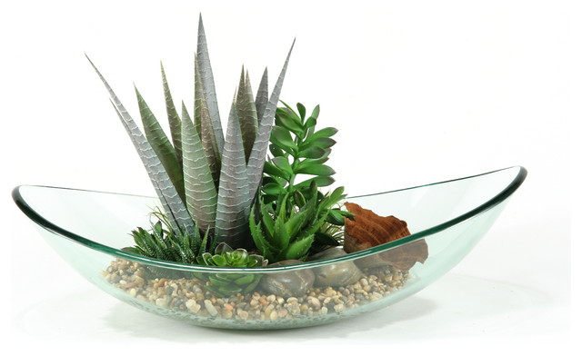 D w silks mixed aloe and succulents in glass bowl for Decor 52 fan celano ma dw