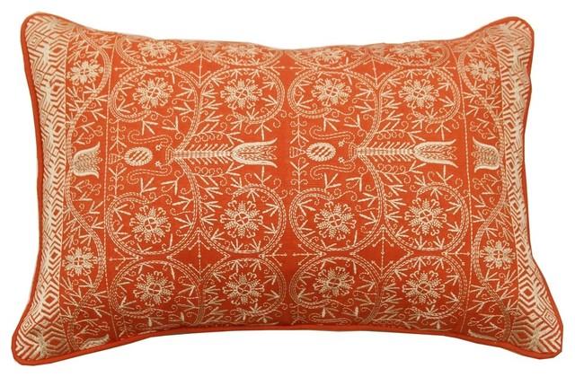 Pushkar Throw Pillow Orange Mediterranean Decorative
