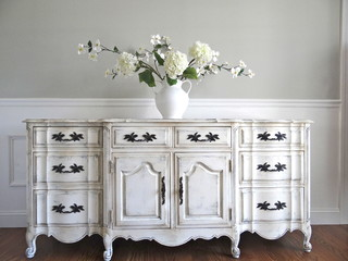 Vintage Hand Painted Antique White French Provincial Buffet Sideboard Cabinet Traditional