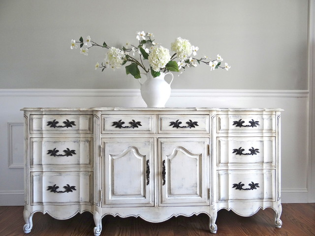 Vintage Hand Painted Antique White French Provincial ...