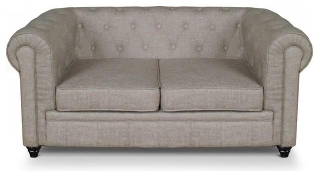 canap fixe chesterfield royal 2 places effet lin beige victorien canap 2 places par inside75. Black Bedroom Furniture Sets. Home Design Ideas
